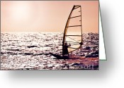 Surf Lifestyle Greeting Cards - Windsurfer silhouette over sea sunset Greeting Card by Anna Omelchenko