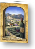 Glass Greeting Cards - Wine and Lavender Greeting Card by Marilyn Dunlap