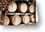 Duotone Greeting Cards - Wine Barrels Greeting Card by Scott Pellegrin