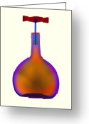 Corked Greeting Cards - Wine Bottle And Corkscrew, X-ray Greeting Card by D. Roberts