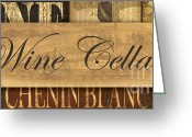 Vino Greeting Cards - Wine Cellar Collage Greeting Card by Grace Pullen