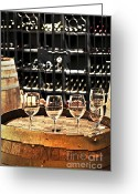 Glasses Greeting Cards - Wine glasses and barrels Greeting Card by Elena Elisseeva