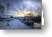 Sunset Framed Prints Greeting Cards - Winter At The Boat Inn Greeting Card by Yhun Suarez