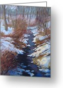 Woods Pastels Greeting Cards - Winter Creek Greeting Card by Jill Stefani Wagner