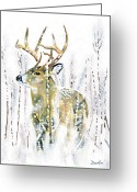 White Tailed Deer Greeting Cards - Winter Deer Greeting Card by Antony Galbraith