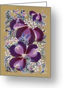 Decorative Floral Drawings Greeting Cards - Winter evening Greeting Card by Olena Kulyk