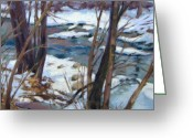 Woods Pastels Greeting Cards - Winter Flow Greeting Card by Jill Stefani Wagner