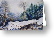 Ski Art Painting Greeting Cards - Winter in Dombay Greeting Card by Zaira Dzhaubaeva