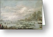 Ice Skating Greeting Cards - Winter Landscape Greeting Card by Aert van der Neer