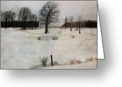 Oak Pastels Greeting Cards - Winter Oaks Greeting Card by Jack Spath