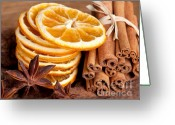 Cinnamon Greeting Cards - Winter Spices Greeting Card by Nailia Schwarz