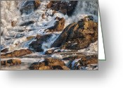 Waterfall Greeting Cards - Winter Sunrise Great Falls  Maine Greeting Card by Bob Orsillo