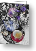 Tea Party Greeting Cards - Winter Tea Greeting Card by Valerie Rachel Martin