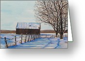 Bare Trees Painting Greeting Cards - Winters Embrace Greeting Card by Tim Martin