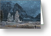Flurries Greeting Cards - Winters Walk Greeting Card by Andrea Hazel Ihlefeld