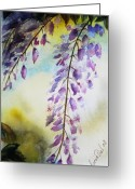 Greeting Card Greeting Cards - Wisteria Greeting Card by Lucia Del