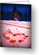 Snowy Night Greeting Cards - With love from America Greeting Card by Lj Lambert