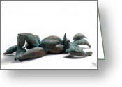 Green Sculpture Greeting Cards - With Seed Greeting Card by Adam Long