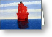 Lighthouse Greeting Cards - Wolf Trap Lighthouse Greeting Card by Frederic Kohli