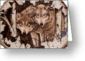 Wolves Pyrography Greeting Cards - Wolves in Hiding Greeting Card by Danette Smith