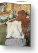 Woman Combing Her Hair Greeting Cards - Woman at her Toilet Greeting Card by Edgar Degas