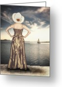 Wait Greeting Cards - Woman At The Lake Greeting Card by Joana Kruse