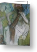 Nude Bath Greeting Cards - Woman Combing her Hair Greeting Card by Edgar Degas