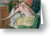 Sat Greeting Cards - Woman Drying Herself Greeting Card by Edgar Degas