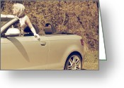 Chic Greeting Cards - Woman In Convertible Greeting Card by Joana Kruse