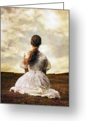 Melancholic Greeting Cards - Woman On A Meadow Greeting Card by Joana Kruse
