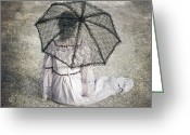 Garment Greeting Cards - Woman On Street Greeting Card by Joana Kruse