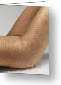 Wear Greeting Cards - Woman Wearing Pantyhose Greeting Card by Oleksiy Maksymenko