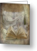 Texture Flower Greeting Cards - Woman With A Book Greeting Card by Joana Kruse