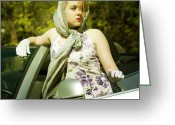 Chic Greeting Cards - Woman With Convertible Greeting Card by Joana Kruse
