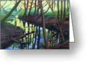 Woods Pastels Greeting Cards - Wood Creek Greeting Card by Jill Stefani Wagner