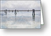 Veneto Greeting Cards - wood piles in the lagoon of Venice Greeting Card by Joana Kruse