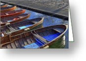 Rowing Greeting Cards - Wooden Boats Greeting Card by Joana Kruse