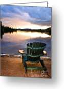 National Greeting Cards - Wooden chair at sunset on beach Greeting Card by Elena Elisseeva