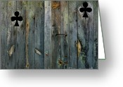 Entryway Greeting Cards - Wooden door Greeting Card by Bernard Jaubert