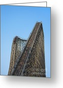 Spine Greeting Cards - Wooden Roller Coaster Greeting Card by John Greim