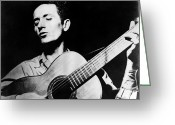 Woody Guthrie Greeting Cards - Woody Guthrie (1912-1967) Greeting Card by Granger
