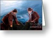 Adult Painting Greeting Cards - Working the Nets Greeting Card by Corey Ford
