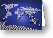 3d Greeting Cards - World Map in Blue Greeting Card by Michael Tompsett