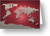 Red Greeting Cards - World Map in Red Greeting Card by Michael Tompsett