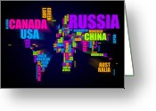 Maps Greeting Cards - World Map in Words Greeting Card by Michael Tompsett