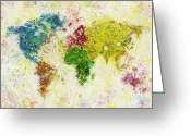 Blue Art Pastels Greeting Cards - World Map Painting Greeting Card by Setsiri Silapasuwanchai