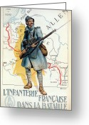 Portrait Poster Greeting Cards - World War I: French Poster Greeting Card by Granger