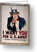 I Want You Greeting Cards - World War I: Uncle Sam Greeting Card by Granger