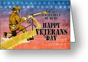 Veterans Day Greeting Cards - World War One American soldier firing machine gun  Greeting Card by Aloysius Patrimonio