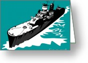 Warship Greeting Cards - World War Two Battleship Warship Cruiser Retro Greeting Card by Aloysius Patrimonio